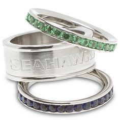 Seattle Seahawks Logo Crystal Stacked Ring Set (Size 8)