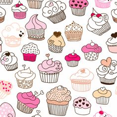 Seamless cupcake illustration pattern in vector