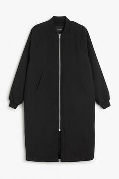 Monki Image 1 of Long bomber jacket in Black
