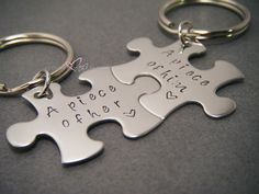 Valentines Day Gift, A piece of Him, A piece of her, Couples Keychains, Puzzle Piece Keychains
