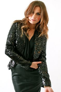 Black sequin jacket and H floral dress! | black sequin jacket ...