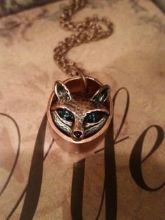 Custom (only one available) Upcycled copper pipe with copper tone Green Eyed metal fox peeking out. Copper pipe may darken which is natural patina. It can be cleaned to a lighter color with vinegar (d