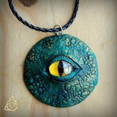 Rhaegal. Dragon eye pendant.Polymer clay.Mystical.Green.Fantasy.Magical.Freedom