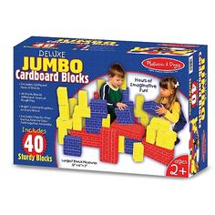 Deluxe Jumbo Cardboard Blocks 40 Pcs and thousands more of the very best toys at Fat Brain Toys. With 40 Deluxe Jumbo Cardboard Blocks by Melissa & Doug, children create spaces meaningful to them. Cardboard Building Blocks, Building Toys, Brick Building, 24 Blocks, Kids Blocks, Look At My, Stacking Blocks, Stacking Toys, Thick Cardboard