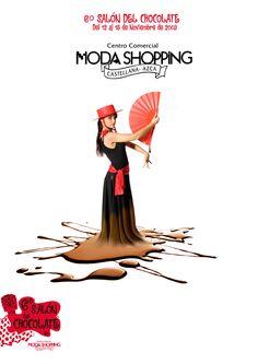 """Cartelería del VII Salón del Chocolate de Madrid en Moda Shopping. Con el tema """"la feria"""". @chocoadictos."""
