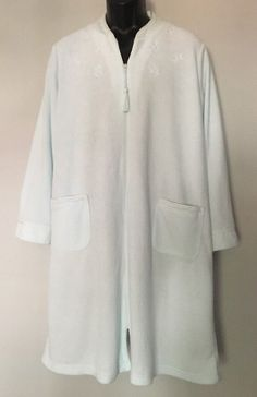 Miss Elaine Terry Zip Front Robe Duster 2X Green Long Sleeve Tassel Pockets f6a5a2be3