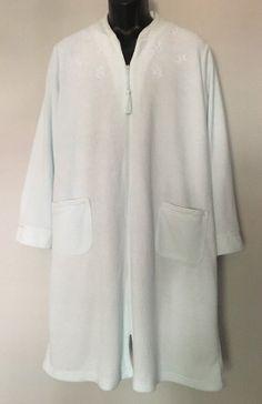 Miss Elaine Terry Zip Front Robe Duster 2X Green Long Sleeve Tassel Pockets   MissElaine   33f4ecf69