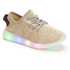 SPORT Gray Light-Up Running Shoe (370 MXN) ❤ liked on Polyvore featuring shoes, athletic shoes, sports running shoes, grey flats, athletic running shoes and gray flats