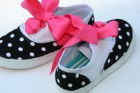 Fabric and ribbons used to decorate plain shoes for kids or maybe kids of all ages!