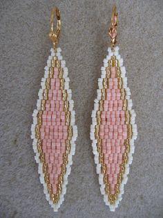 Bead Woven Earrings Elongated Diamond Peach/Cream by pattimacs, $18.00