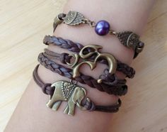 elephant braceletowl bracelet heart Bracelet by TheBraceletGift, $6.99