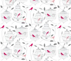 Rose Birds and Cages fabric by dorolimited on Spoonflower - custom fabric