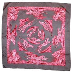 "Preowned Hermes Pink & Grey Silk ""quepards"" Scarf -pm ($600) ❤ liked on Polyvore featuring accessories, scarves, pink, grey shawl, cheetah print scarves, pink shawl, silk shawl and pure silk scarves"