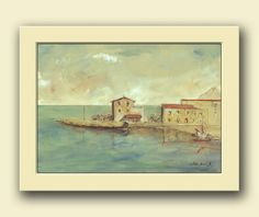 Porticello, Santa Flavia. Palermo, Sicily, Italy . Italian cityscape home decor. Italy art wall .  This is an original watercolor painting made by me,