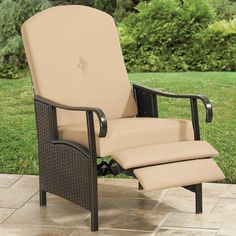 Resin Wicker Outdoor Recliner With Cushion | Patio Furniture | Brylanehome