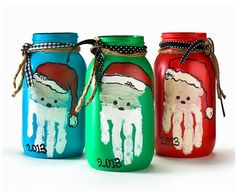 If you love Santa crafts and Mason jar crafts, you're in luck! Combine two of your favorite projects into one when you make a set of these Handprint Santa Mason Jars. Cute and creative, this Christmas craft idea will make for a fun DIY gift or cute h Christmas Mason Jars, Diy Christmas Gifts, Christmas Projects, Holiday Crafts, Christmas Decorations, Christmas Lanterns, Homemade Christmas, Halloween Crafts, Holiday Ideas
