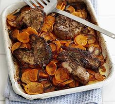 Lamb steaks with rosemary sweet potatoes: favourite go-to recipe for lamb steaks, quick easy and healthy throw in some green beans for extra veg. Bbc Good Food Recipes, Paleo Recipes, Cooking Recipes, Ham Recipes, Lamb Steak Recipes, Steak Meals, Food For Thought, Hummus, Quinoa