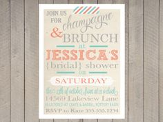 Vintage Bridal Shower Invitation, Spring, Gray Coral and Teal Turquoise Stripe, Typography, Washi Tape
