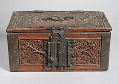 Box with Unicorn Date: 15th century Culture: Northern European Dimensions: Overall: 4 7/8 x 13 3/8 x 7 in. (12.4 x 34 x 17.8 cm) Classification: Woodwork-Furniture Credit Line: The Cloisters Collection, 1955 Accession Number: 55.194