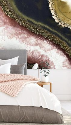 This trending geode wallpaper is all your bedroom needs for its feature wall. With beautiful deep pinks and dark greys, this statement wallpaper is a real showstopper! Team it with a lighter grey bed for a contemporary look and pale pink accessories for a lovely chic bedroom idea. Discover this and more geode wallpapers at Wallsauce Diy Room Decor, Bedroom Decor, Home Decor, Pink Wallpaper, Bedroom Wallpaper, Custom Wall Murals, Grey Bedding, Beautiful Bedrooms, Romantic