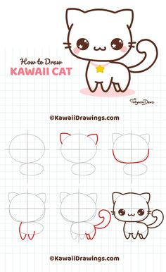 Easy drawing tutorial on how to draw kawaii cat with 6 simple steps. drawings mermaid Easy drawing tutorial on how to draw kawaii cat with 6 simple steps. Simple Cat Drawing, Cute Easy Drawings, Cute Kawaii Drawings, Art Drawings For Kids, Cute Animal Drawings, Doodle Drawings, Cartoon Drawings, Drawing Ideas, Cute Animals To Draw