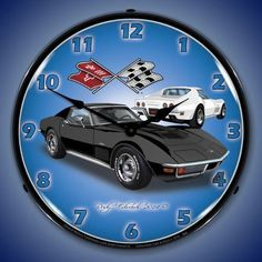 1971 Black Corvette Stingray Backlit Clock features an outer lens that is made from high quality optical lexan held in place with 3 removable rivets. It is scratch resistant and will not yellow over t