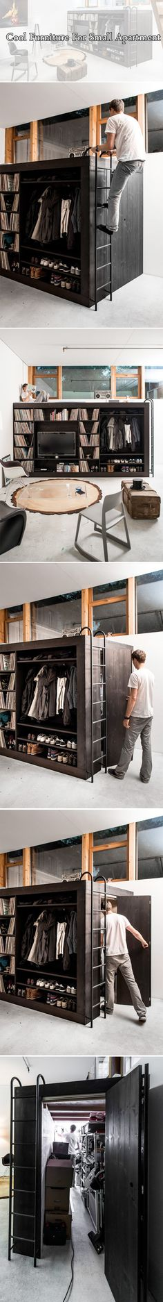 "Modern space-saving bed with integrated bookshelves, entertainment center, walk-in closet, and storage compartments. ""The Living Cube"" was designed and constructed by Till Koenneker."