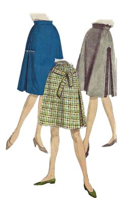 Vogue 5607 1960s Misses Skirt Pattern with Inverted Side Pleat