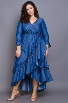 Plus Size Glam Ruffle Trim Denim Maxi Dress