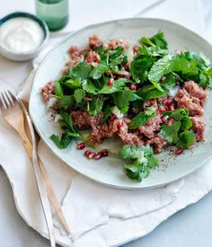 Lamb kibbeh nayeh with pomegranate and herb salad recipe | Fast salad recipe - Gourmet Traveller