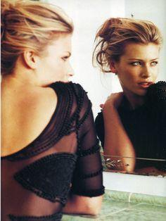 "'""I Stinto"", Elle Italia, March 1995 Model : Daniela Pestova' -- love a low scoop back BLONDES IN BLACK"