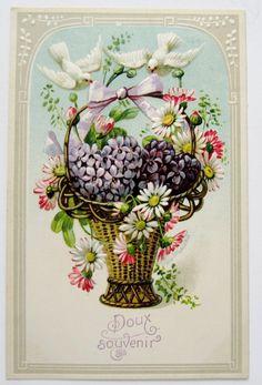 Doux Souvenir Doves on Basket of Flowers Violet Hearts Postcard Emb   eBay