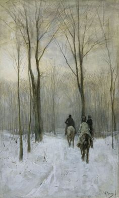 Anton Mauve (Dutch, 1838-1888), Riders in the Snow in the Haagse Bos, 1880. Pencil on paper, 44.1 x 26.7 cm.