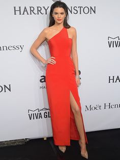 Kendall Jenner in an Orange dress. LOVE LOVE the color.