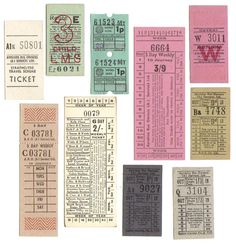 Vintage tickets bus and train Journal Paper, Junk Journal, Vintage Labels, Vintage Ephemera, Vintage Type, Vintage Prints, Journal Stickers, Planner Stickers, Ticket Design