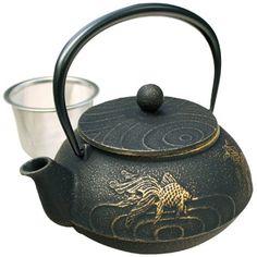 Tetsubin Iron Teapot - Black with Gold Fish