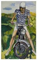 Hartley on the Motorcycle, oil, 82.8 x 50.1 in (210.2 x 127.3 cm), 1966, by Alice Neel