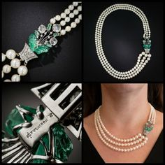 Art Deco three strand pearl necklace by Boucheron with carved emerald and rose-cut diamond clasp. Circa 1920's. At Lang Antiques.