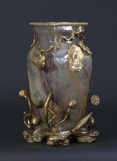 Art Nouveau Rock Crystal Style & Bronze Vase. Base depicting frogs & flowers. Applied lion handles.