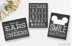 Instant Download! As seen on HWTM: Retro Vintage Mickey Mouse Chalkboard Party Signs - We've Got Ears, Smile, & Come Inside