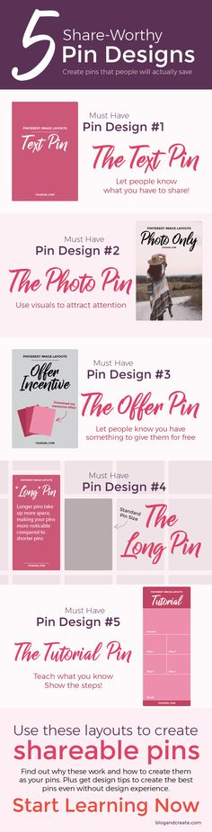 Graphics are important for promoting your blog on Pinterest. Learn how to create Pinterest graphics, how to brand your pins, and how to create 5 viral pin layouts. | How to Design 5 Popular Pinterest Graphic Layouts That People Will Actually Click | pinterest design tips, pinterest tips, pinterest for bloggers, pinterest for beginners, pinterest marketing | #pinteresttips #bloggingtips
