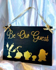 "Disneys Beauty and the Beast Sign for Wedding Reception or Party ~ ""Be our Guest"" ~ Customizable ~ 10X12 inches by CherylsThingaMaBobs on Etsy https://www.etsy.com/listing/501338682/disneys-beauty-and-the-beast-sign-for"