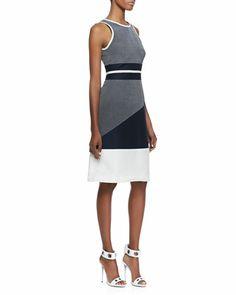 Riot Sleeveless Blocked Combo Dress by Jonathan Simkhai at Neiman Marcus.
