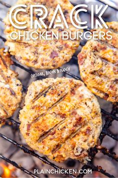 Crack Chicken Burgers - Plain Chicken - Crack Chicken Burgers – the BEST ground chicken burger EVER! We ate these for lunch and dinner on the same day. Who knew ground chicken burgers coul. Ground Chicken Burgers, Recipes With Ground Chicken, Ground Turkey Burgers, Chicken Ranch Burgers, Chicken Burgers Healthy, Beef Burgers, Veggie Burgers, Low Carb Recipes, Cooking Recipes