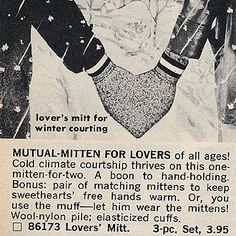 """""""Lover's mitt for winter courting""""... A 3-pc set! I'd love a set of these. For next season's winter courting..."""