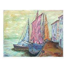 Pre-Owned Boats w/ Sails ($879) ❤ liked on Polyvore featuring home, home decor, wall art, multi, sail boat painting, boat painting, texture painting, textured wall art and sailboat painting