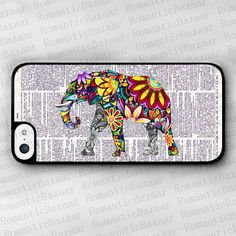 Floral Elephant iPhone 5c case, iPhone 5c hard case, Dictionary Page cover skin case for iphone 5c cases on Etsy, $8.00 CAD