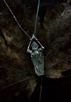 Silver pendant with twigs and Green Amber cabochon  amber necklace jewelry  forest witch