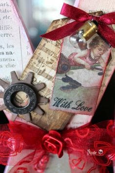 Valentine Hugs and Kisses- tags, metal and auto lights  http://canadiannickelscrapn.blogspot.com/