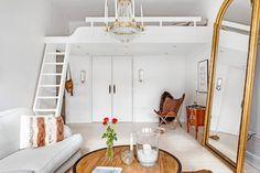 Estudio de 34 m² con cama el altillo y estilo femenino | Decoración